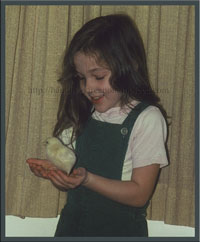 Little Roselyn with chick