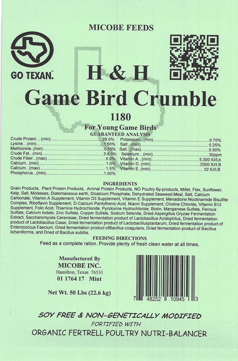 SALE!!!  Game Bird Crumble 50 Pounds FREE SHIPPING!!